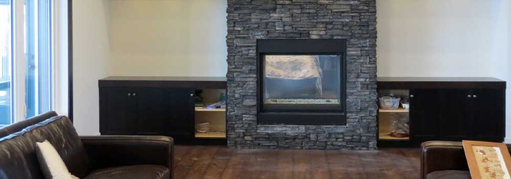 R & F Stucco & Masonry brick fireplace modern
